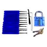 زرقاء شفّافة ممارسة يصنع قفل مع نوع خيش حق [15بكس] [لوكبيكينغ] زرقاء سليكون حالة ([كمبو] 6-3)