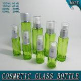 Green Glass Airless Pump Bottle Screen Printing