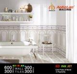 300X600mm Tintenstrahl glasig-glänzende keramische Wand-Innenfliese des Badezimmer-6D