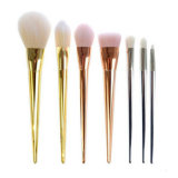 Nuevo conjunto de cepillo del maquillaje 7PCS con la maneta plástica del oro