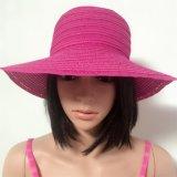 100% соломенной шляпе, стиль моды леди с полосами и Большой Брим