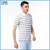 Preto e branco clássico Short-Sleeve listrado homens Polo Shirt absorvente