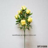 Única haste flor artificial/plástica/de seda do Rosebud (XF31009)