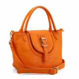 Sun Orange Women Dumpling-Shaped Balde Flap Bolsa (MBNO040124)