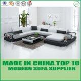 Modernes Form-Sofa des Wohnzimmer-echten Leder-U