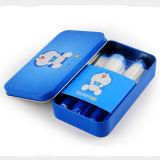 Comercio al por mayor 7pcs Doraemon lindo pincel de maquillaje con caja de metal azul