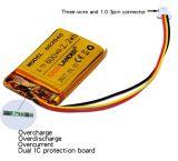 Bateria recarregável Li-ion de polímero de Li de 3.7V 600mAh para câmera esportiva, gravador portátil DVR 602540 622540