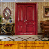 Дверь дверей двойного входа твердой древесины неравная деревянная для сбывания (XS1-011)