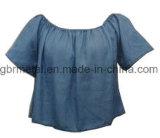 Camicia 100% del manicotto di Short del denim del cotone delle signore Wh1024