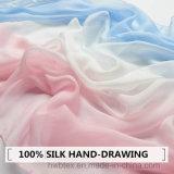 O melhor Mão-Desenho de venda que degrada o lenço/estola de seda puros (HWBS45)