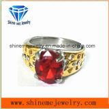 Anillo de oro de piedra rojo de la joyería del acero inoxidable de la manera