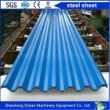 Hoja de acero del color acanalado hecha del acero de PPGI para el material de material para techos en el edificio ligero de la estructura de acero
