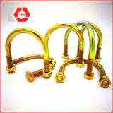 Boulon en U en acier laminé à chaud galvanisé jaune avec la rondelle et la noix