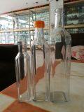 オリーブ油のガラスビン、正方形のガラスビン、緑のガラスビン