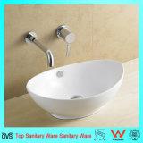 Bonne vente ovale Salle de Bain lavabo sans trou de robinet