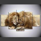 [هد] طبع أسد صورة زيتيّة مجموعة [بينتينغ كنفس] [برينت رووم] زخرفة طبعة ملصقة صورة نوع خيش [يم-012]