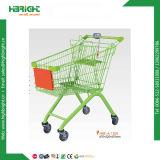 Puder beschichtete Supermarkt-Einkaufen-Laufkatze mit gebogenem Griff