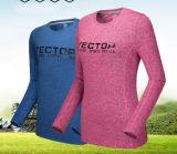 T-shirts à manches longues, hommes et femmes col rond et de la transpiration s'étirer les vêtements de plein air