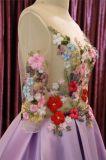 Фиолетовый цветок длинной втулки Satin-ППЗУ Openboot вечерние платья