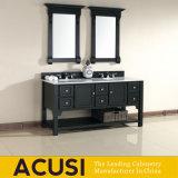 Assoalho clássico - vaidade montada do banheiro da bacia do dobro da madeira contínua (ACS1-W98)