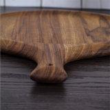 Tagliere di legno di corso della vita di figura rotonda della fetta lunga dell'alimento