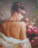 壁の装飾のためのハンドメイドのニースのCanvas女性油絵