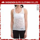 Las señoras adelgazan la camiseta apta de la quemadura del algodón del poliester de la impresión en color (ELTWBJ-391)
