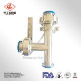 304/316L de aço inoxidável sanitárias Estilo de três vias da Válvula Borboleta com pega SS