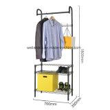 Houseware simple de Black Metal pesado colgador de ropa ropa de rack con 2 estantes