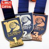 リボンが付いているカスタム3D亜鉛合金の骨董品の銅の黄銅の超整形金属のバスケットボールのスポーツメダル