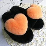 Moda Senhora Abra Toe na sapata de peles com pêlo de Cores Doces Chinelos