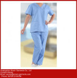 Os cuidados da forma esfregam o hospital que médico uniforme esfrega com bolso (H19)