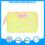 PVC transparent de couleur jaune avec le sac cosmétique de sac de lacet