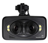 Vista panorâmica de fricção Three-Lens Noite Gravador de condução de automóvel de Alta Definição