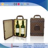 Heet verkoop Doos van de Gift van de Wijn van de Wijn van het Leer van 2 Flessen de Dragende (5898)
