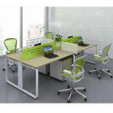 poste de travail de bureau du dessus 4-Seats en bois et du bâti en acier (SZ-WS131)