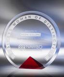 Trofeo cristalino de la concesión del círculo con color rojo en el borde