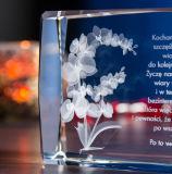 Cubo de cristal grabado de flores para regalos de Navidad