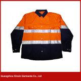Revestimento de trabalho azul alaranjado do velo da segurança com a faixa reflexiva para o inverno (W62)