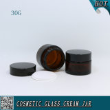 Оптовая пустая лицевая сливк 30g Jars опарник янтарных косметик стеклянный с крышкой пластмассы/металла/алюминиевых для внимательности кожи