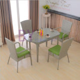 Im Freiengarten-Hof-Freizeit-Balkon PET Rattan-Tisch und Stuhl-gesetzte Möbel