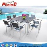 Bon marché de canapés de jardin Chaise de salle à manger en aluminium de plein air Table et chaise ensemble