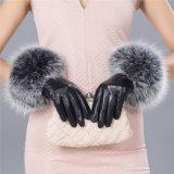 Dama de la moda del manguito de piel Real Sheepskin vestido de cuero guantes