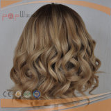 Perruque blonde en soie de cheveu européen court première (PPG-l-01860)