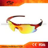 도매 빨간 반절 크기 사진 호환성이 있는 렌즈 UV400 옥외 운동 순환 운영하는 색안경