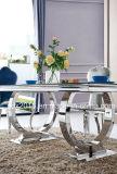 8人のステンレス鋼フレームのダイニングテーブル