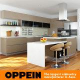 Armário de cozinha de madeira de laca de alto brilho moderno com ilha (OP16-L16)