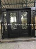 Modernes vorderes Sicherheits-Tür-Quadrat-oberste bearbeitetes Eisen-Tür mit Regen-Glas