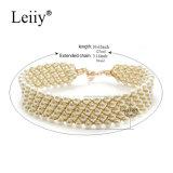 De witte Gesimuleerde Elegante Halsbanden van de Juwelen van de Manier van de Vrouwen van de Nauwsluitende halsketting van het Weefsel van de Parel Met de hand gemaakte