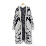 新しく熱い女性の長い袖の高品質のニットのカーディガンはモヘアから成っているV首のセーターをゆるめる